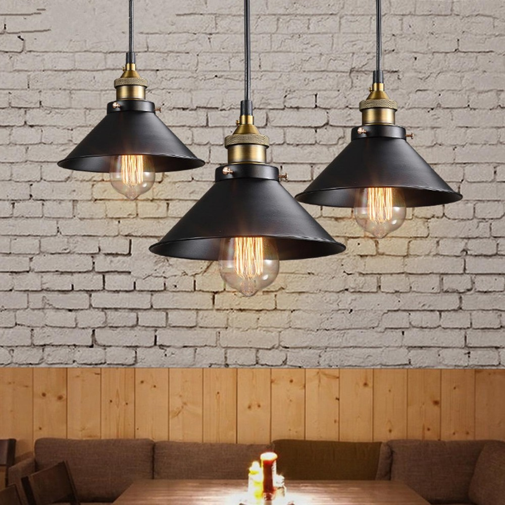 Ceiling lamp retro industrial vintage hanging iron pendant lights not include bulb in Pendant Lights from Lights Lighting
