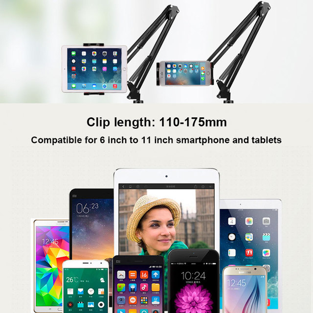 6 to 11inch Mobile phone Tablet Holder Stand For iPad Mini Air Samsung 360 Degree Long Arm Lazy Bed Desk Tablet Mount Support 1