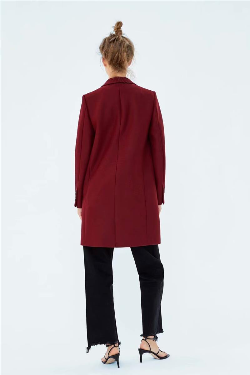Las mujeres de invierno rojo largo abrigo de lana, una elegante botón Oversize Parka abrigo cappotto donna abrigos para mujer invierno 2019 - 5