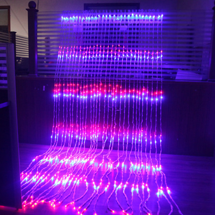 3x3m 320 led waterfall snowfall curtain icicle led string light meteor shower rain effect string. Black Bedroom Furniture Sets. Home Design Ideas