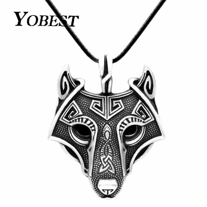 YOBEST Norse Vikings Pendant Necklace Norse Wolf Head Necklace Original Animal Jewelry Wolf Head