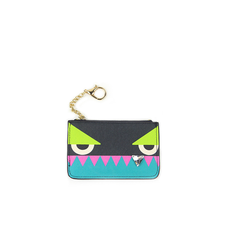 New 2017 design cute mini monster women PU leather key wallet lady trendy flower stud coin purses card wallets for female qn033 new design hasp wallets cute pokemon go wallet pocket monster purses pikachu wallets cartoon children best present wallets