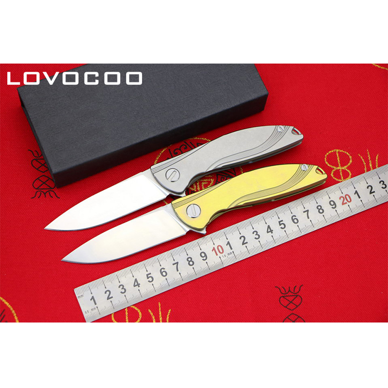 LOCOVOO NEON Flipper folding knife D2 blade Titanium handle Outdoor camping hunting pocket fruit knives EDC tools Survival green thorn made dark flipper folding knife d2 titanium blade g10 handle outdoor survival hunting camping fruit knife edc tools