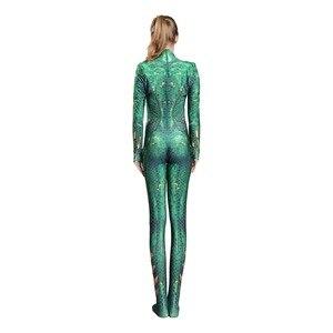Image 2 - 新しい女性子供映画アクアマンメラ女王コスプレコスチューム全身タイツスーツスーツジャンプスーツとかつらライクラスパンデックス全身タイツの衣装2019