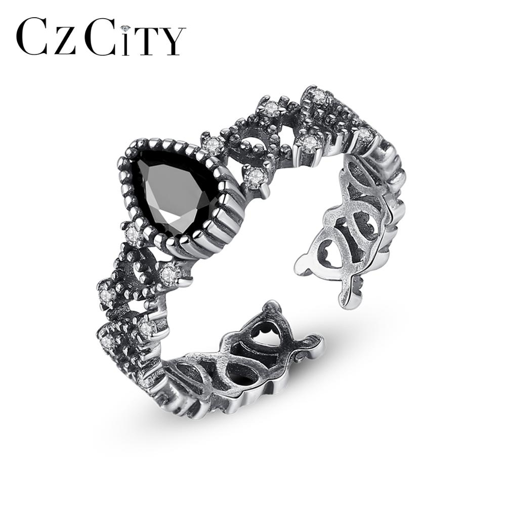 CZCITY New Retro Thai Silver Open Rings For Women 925 Sterling Silver Fine Jewelry Anillos De Plata 925 De Ley Party Gift SR0198
