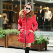 Autumn Winter Fur Collar Women Parka Outerwear Fashion Coat Down Jacket With Large Plus Size M
