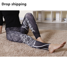 Drop shipping black lotus yoga pants comfy elastic sport gym leggings women workout clothing