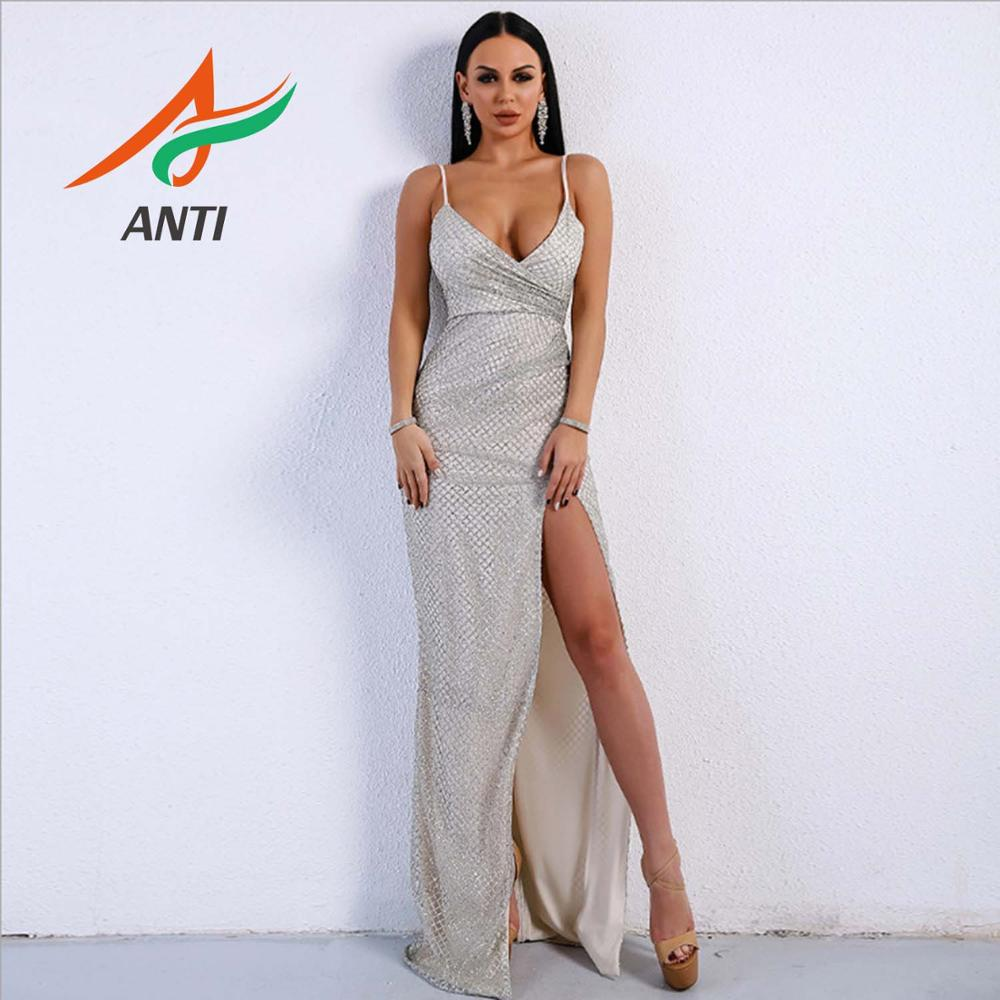 ANTI Sexy Sequin   Prom     Dresses   2019 V neck Silver High Split Satin Sleeveless Evening Gown Zipper Backless Vestido De Gala Custom
