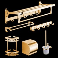 Antique Brushed Bathroom Accessories European Gold Space Aluminum Bathroom Shelf Bathroom Hardware sets Bathroom Product w356