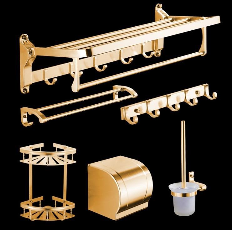 Antique Brushed Bathroom Accessories European Gold Space Aluminum Bathroom Shelf Bathroom Hardware sets Bathroom Product w356