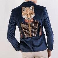 Freeship luxury medieval fox general embroidery velvet leisure causal slim jacket /club/show jacket/ASIA SIZE