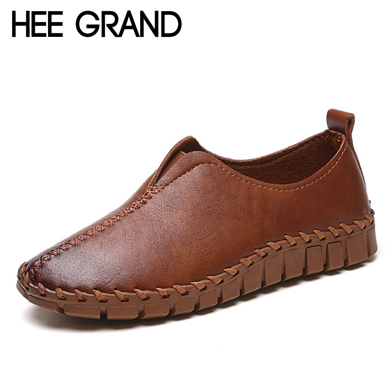 HEE GRAND 2017 Platform Loafers Slip On Ballet Flats Pinted Toe Shoes Woman Comfortable Creepers Casual Women Flat Shoes XWD4879 hee grand 2017 creepers summer platform gladiator sandals casual shoes woman slip on flats fashion silver women shoes xwz4074