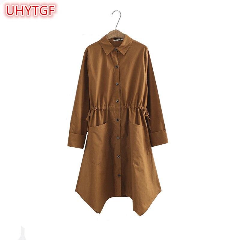 UHYTGF 2018 Новый Большие размеры 5XL черный ветровка куртка средней длины с длинным рукавом Свободные модная одежда ветровка Women's135