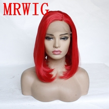 MRWIG 12in Short Bob Synthetic Lace Front Wig Left Side Part Red Hair Color for African American Woman adiors side part slightly curled short bob synthetic wig