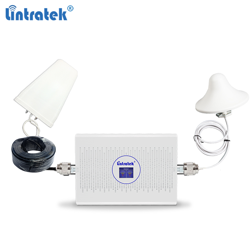 Lintratek NEW Repeater 2G 3G 4G Signal Booster 900 1800 2100 Dual Band Ampli GSM 3G 4G LTE AGC 70dB Repeater 900 1800 2100 Mhz