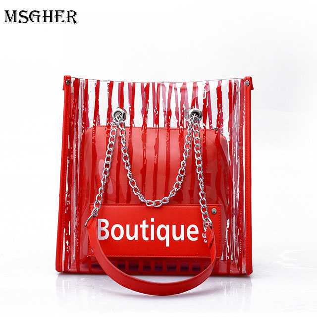 M.S Women Handbag PVC Handbag Female Womens Shoulder Bag Crossbody Messenger Bag Stripe Transparent Designer Fashion New Bags