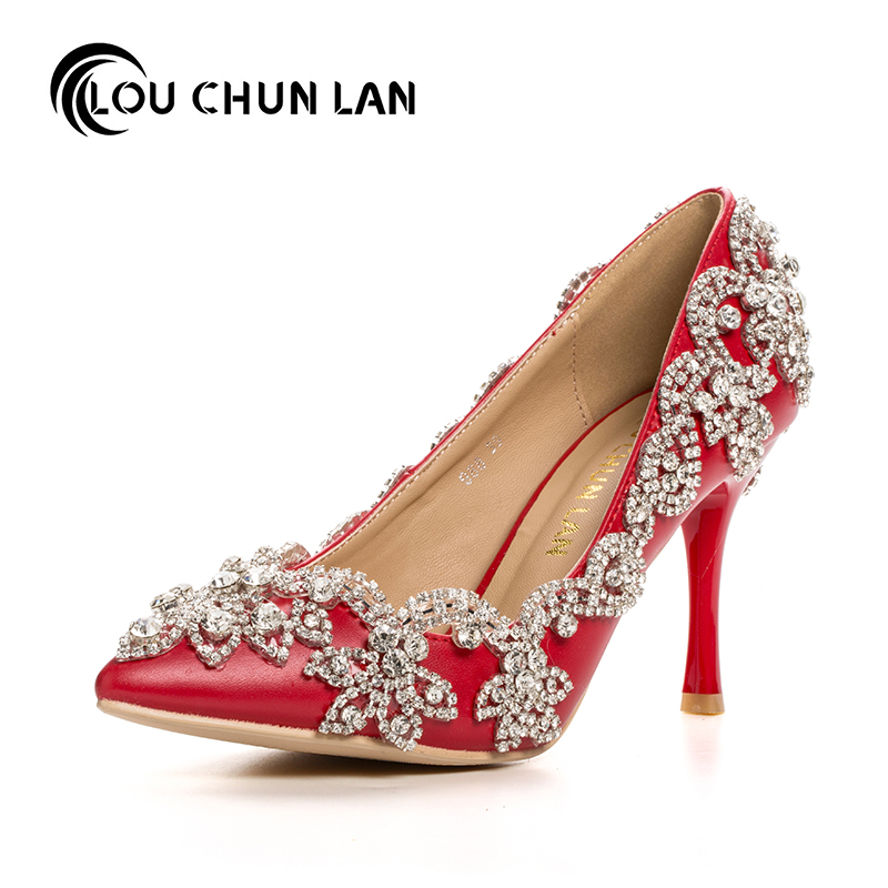 Women Pumps Wedding Shoes Spring red Bridal Shoes ultra High Heels shallow mouth thin heels dress pointed toe large size 40-47 women pumps shoes pointed toe thin heels crystal shoes wedding shoes bridal shoes rhinestone handmade female high heeled