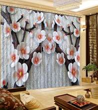 home curtains customize Branch flower curtains for living room Bedroom window curtains pink blackout 3D curtain(China)