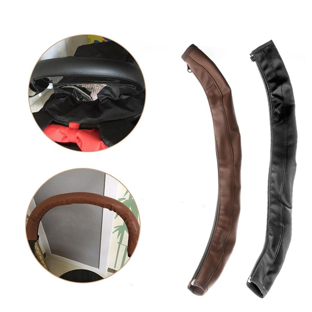Negro Accesorios para cochecitos de beb/é Reposabrazos de cochecito Funda protectora de cuero de pu de la PU para las fundas de los brazos Manija Sillas de ruedas