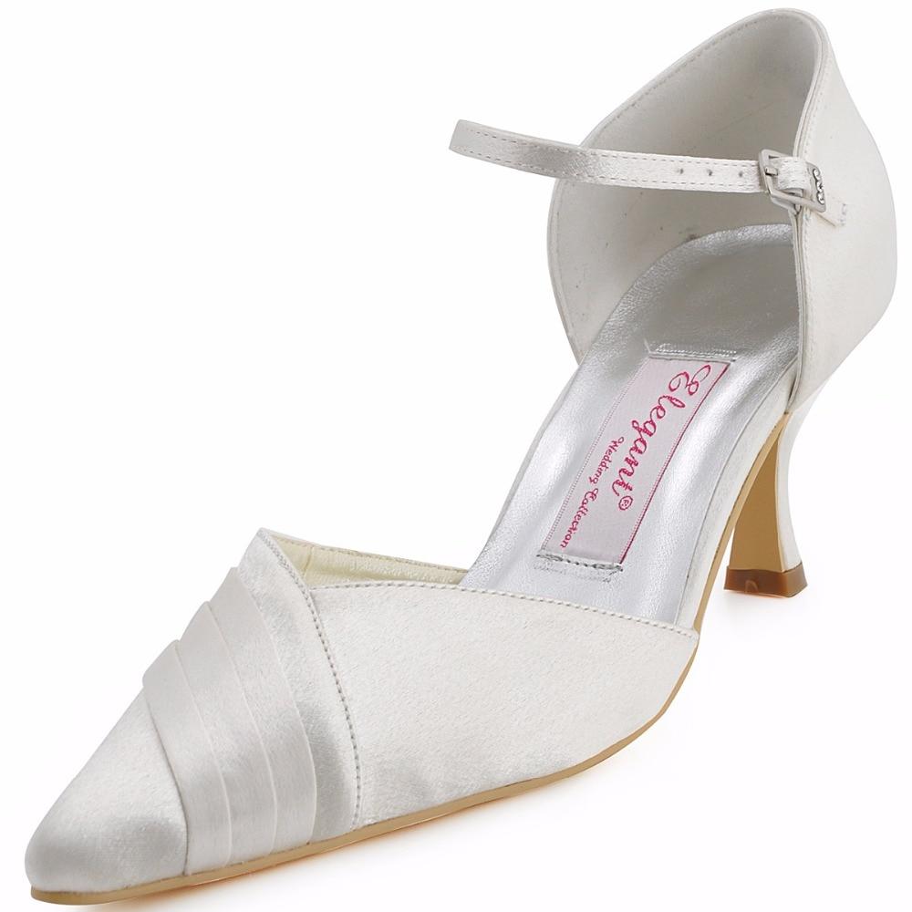 ФОТО Woman Shoes Brand Design EP11012 White Pointed Toe Satin Bridal Spool Heel Pumps Women Ivory Wedding Shoes