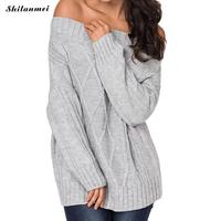 Sexy Off Shoulder Slim Knitted Sweater Women Slash Neck Pink Pullovers Knitwear Autumn Winter 2018 Backless Jumper Pull Femme