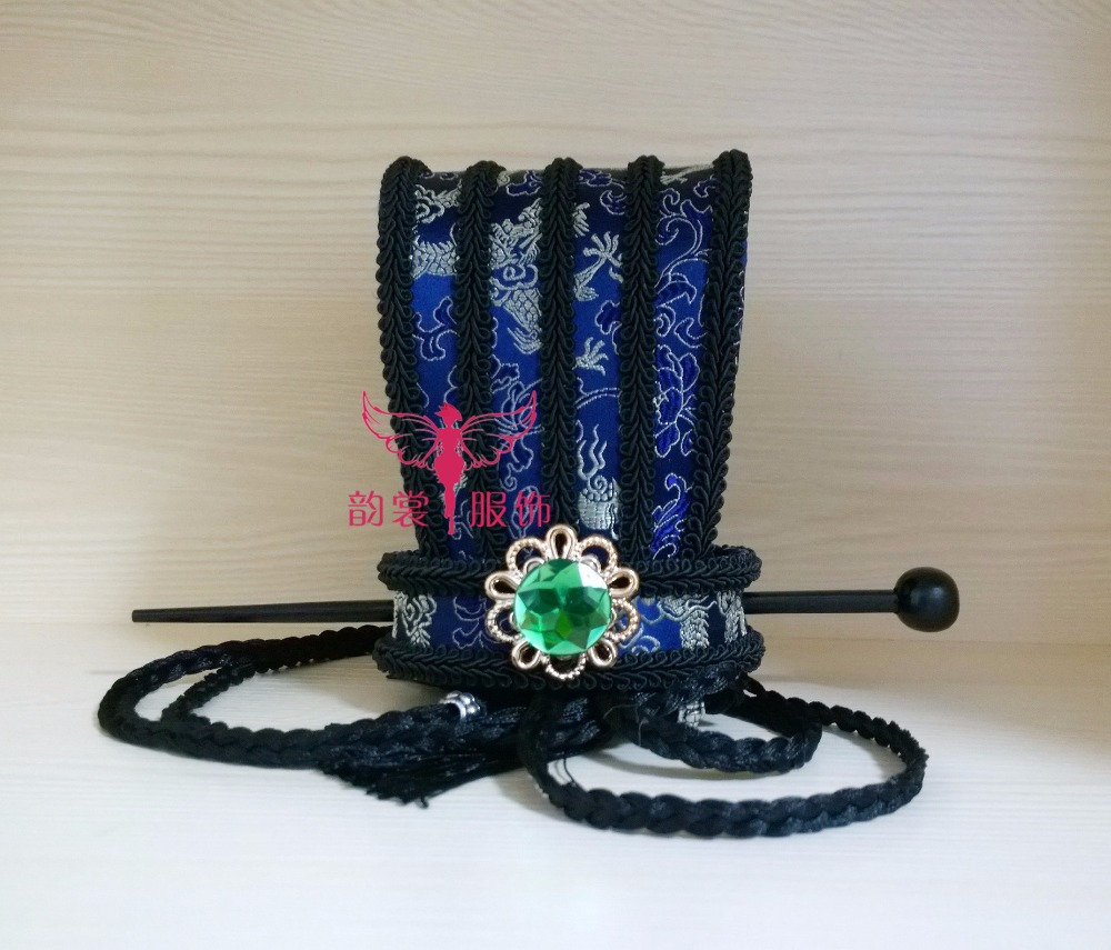 3 Designs Alten Chinesischen Dunkelblau Drei Königreiche Zeitraum Männlich Hut Childe Prince Haar Tiaras Hanfu Cos Hut