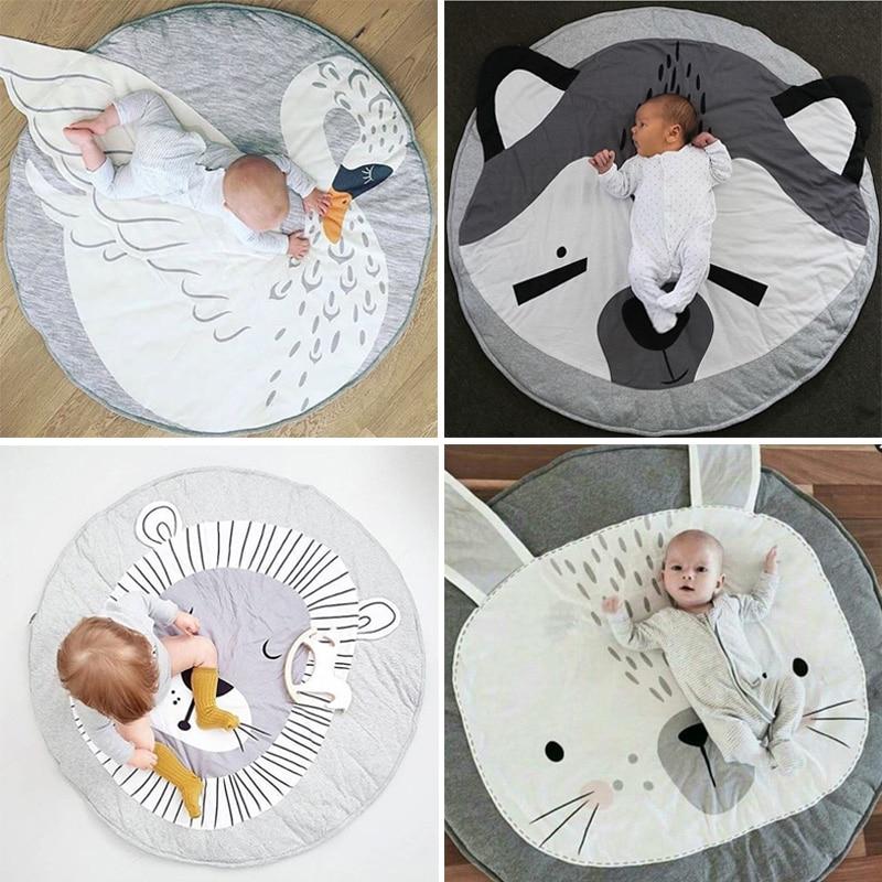 90 Cm Kids Play Game Matten Ronde Tapijt Tapijten Mat Katoen Zwaan Kruipen Deken Vloer Tapijt Voor Kinderkamer Decoratie Ins Baby Geschenken Laatste Mode