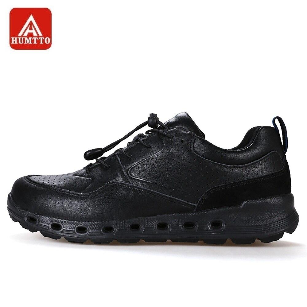 HUMTTO hommes chaussures de randonnée en cuir véritable respirant Trekking escalade chaussures lacets rapides trou Design baskets