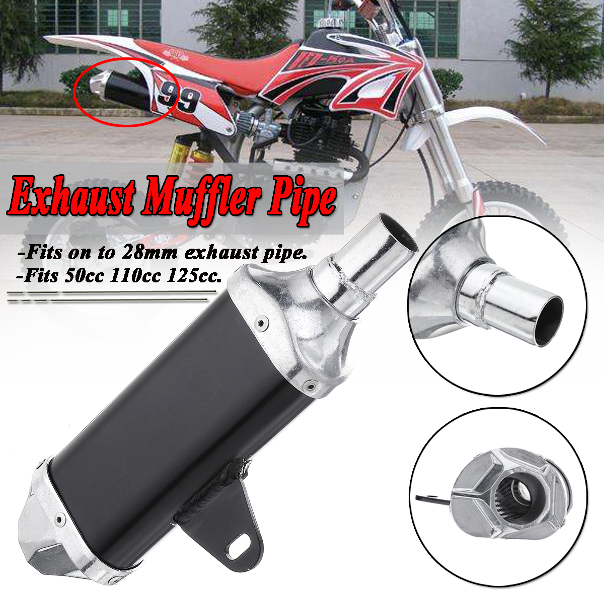 28mm Universal Motorcycle Pit Dirt Bike Exhaust Muffler Pipe 50cc 110cc 125cc New For Honda For Harley For Yamaha For Suzuki