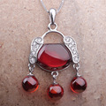 Original Natural semi-precious stones 925 Sterling Silver necklace Bohemian ethnic style retro Garnet red lock pendant jewelry