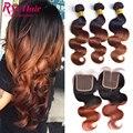 Brasileiro cabelo ombre onda do corpo com fechamento ombre brasileiro virgem cabelo com encerramento t1b/33 two tone lace closure com feixes