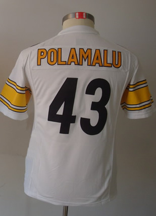 in stock 6c781 94919 43 Troy Polamalu Kids Youth Game White Football Jersey-in ...