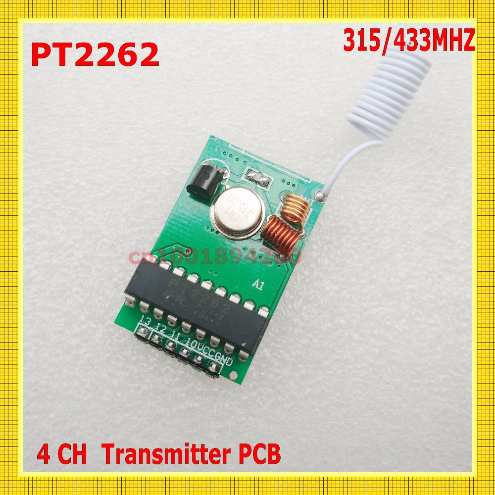 PT2262 IC Chip Remote Control 4CH Remote Transmitter PCB 315/433 Fixed Code2262 RF Remote TX 50-1000m Long Range Wireless Remote