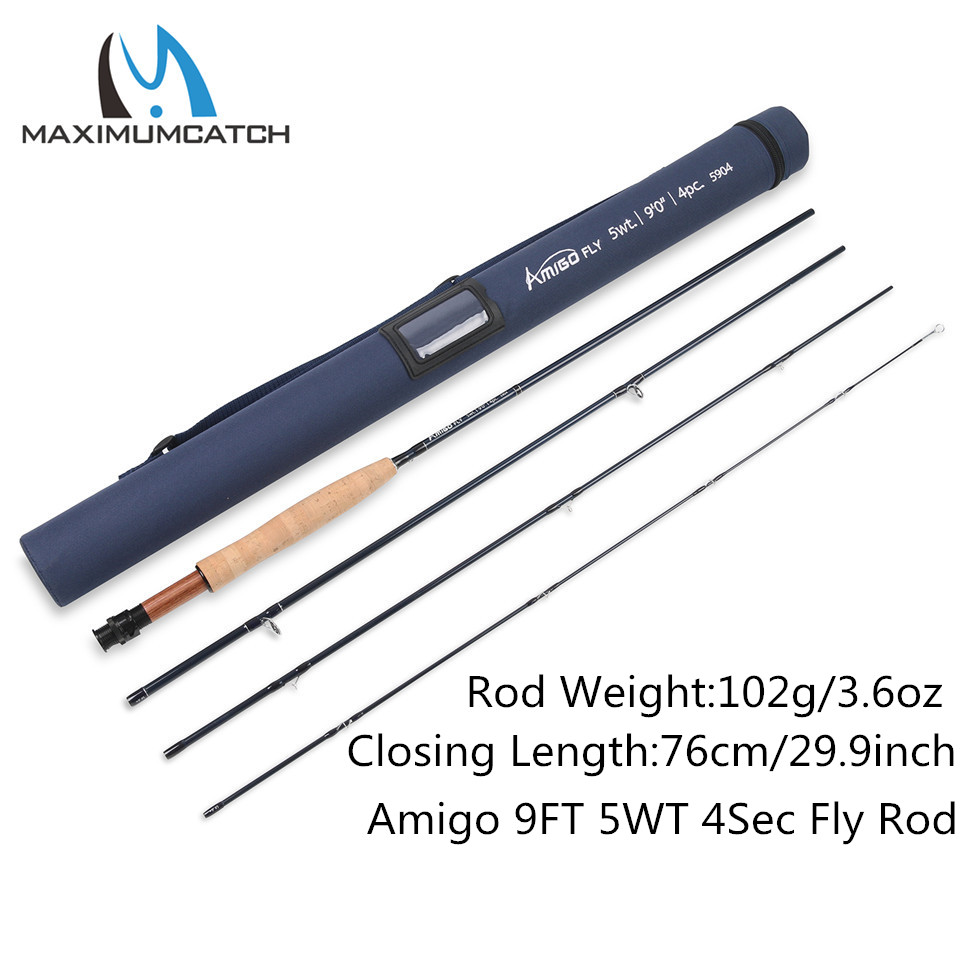 Maximumcatch 5-8WT Fly rod 9FT 30T SK Carbon Fiber Fast Action Amigo Fly Fishing Rod with Cordura Tube goture new arrival fly fishing rod 2 7m 9ft 4pcs 30t carbon fiber m mf action fishing fly rods 5wt 6wt 7wt 8wt for trout bass