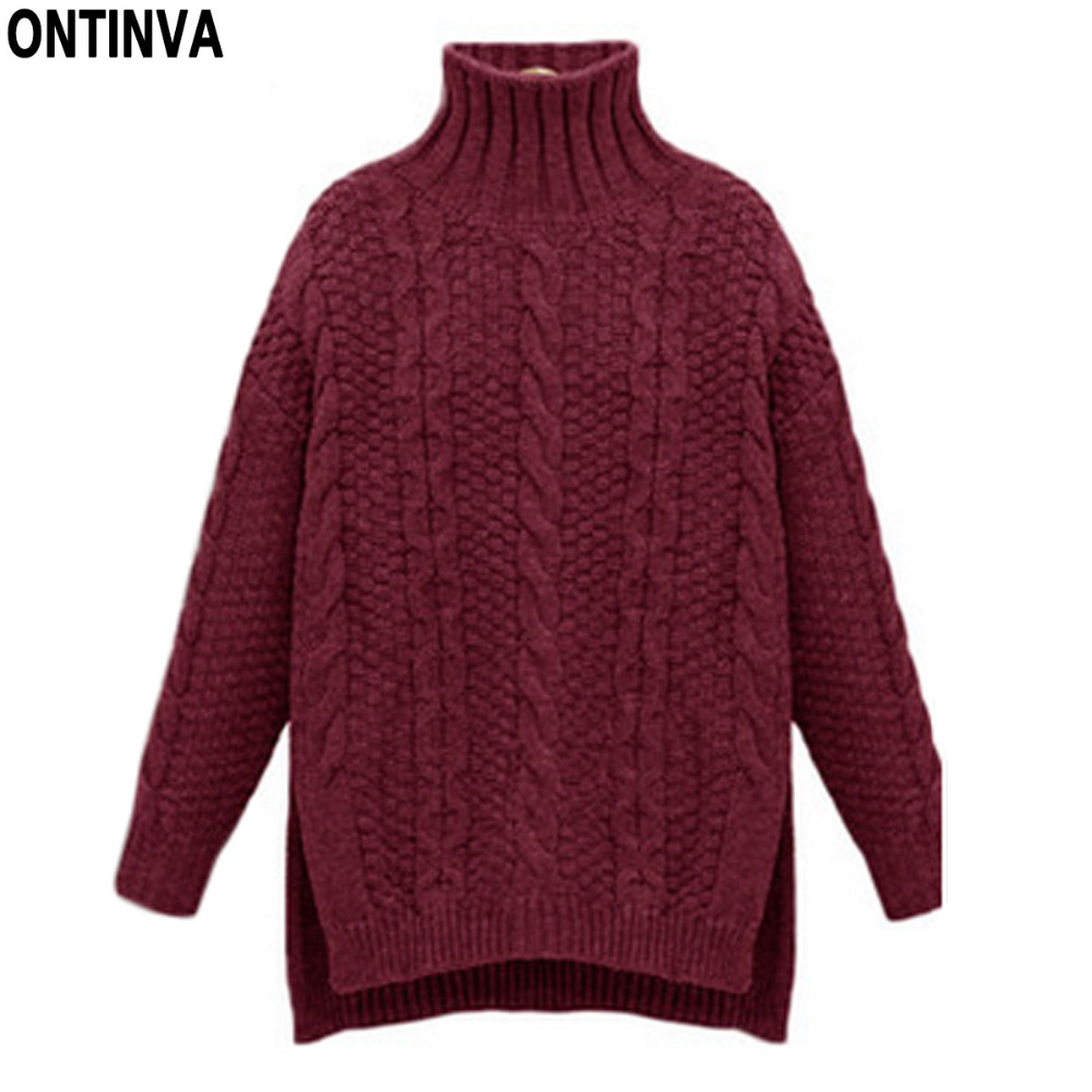 0c8b284c9cf096 Turtleneck Knitted Twist Pattern Sweater Winter Oversized Girls Sweaters  Tops Woman O Neck Long Sleeve Thick Pullovers Jumper-in Pullovers from  Women s ...