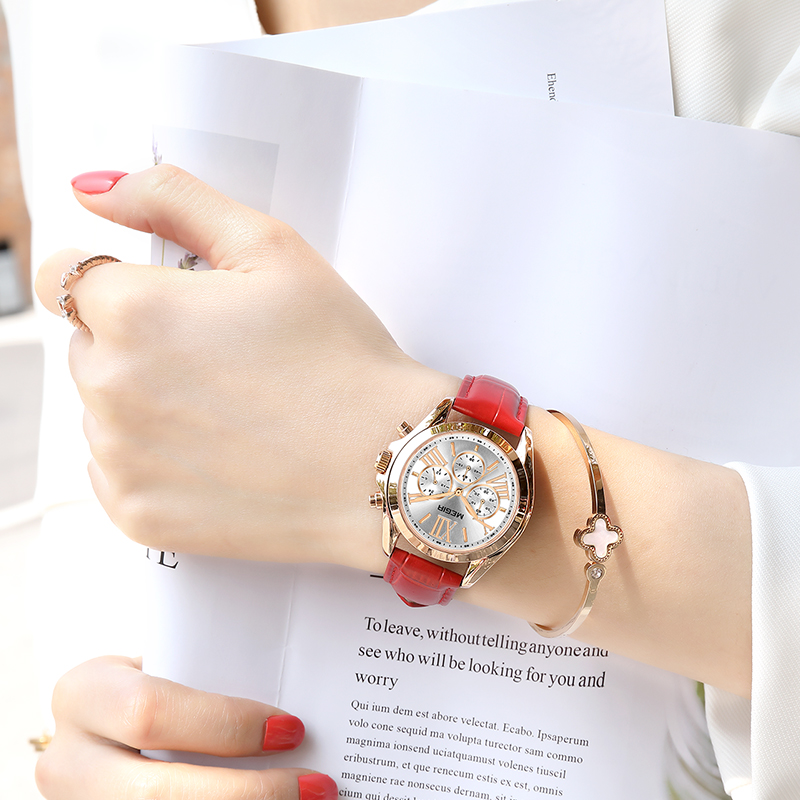 MEGIR Luxury Brand Quartz Women Watches Fashion Sport Ladies Watch Clock Top Brand Chronograph Wristwatch Relogio Feminino 2019