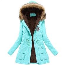 Áo khoác mùa đông phụ nữ bông áo khoác áo khoác nữ mỏng áo trùm đầu mùa đông dài bông độn cổ áo lông thú parkas cộng với kích thước 3L68