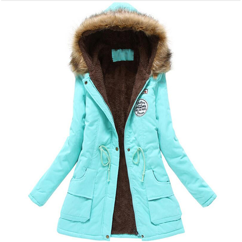 winter jacket women wadded jacket female outerwear slim winter hooded coat long cotton padded fur collar parkas plus size 3L68 women long plus size jackets padded cotton coats winter hooded warm wadded female parkas fur collar outerwear