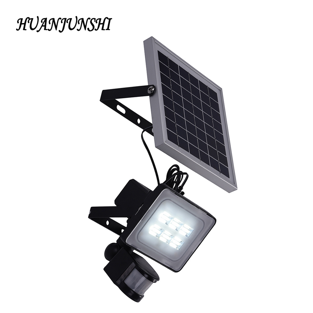 new 10w solar led flood light with pir motion sensor dc12v 24v 600lm solar powered security