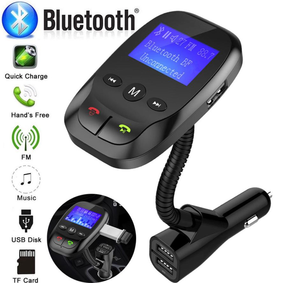 Bluetooth FM Transmitter for Car Wireless Radio Adapter Car Kit MP3 USB Charger