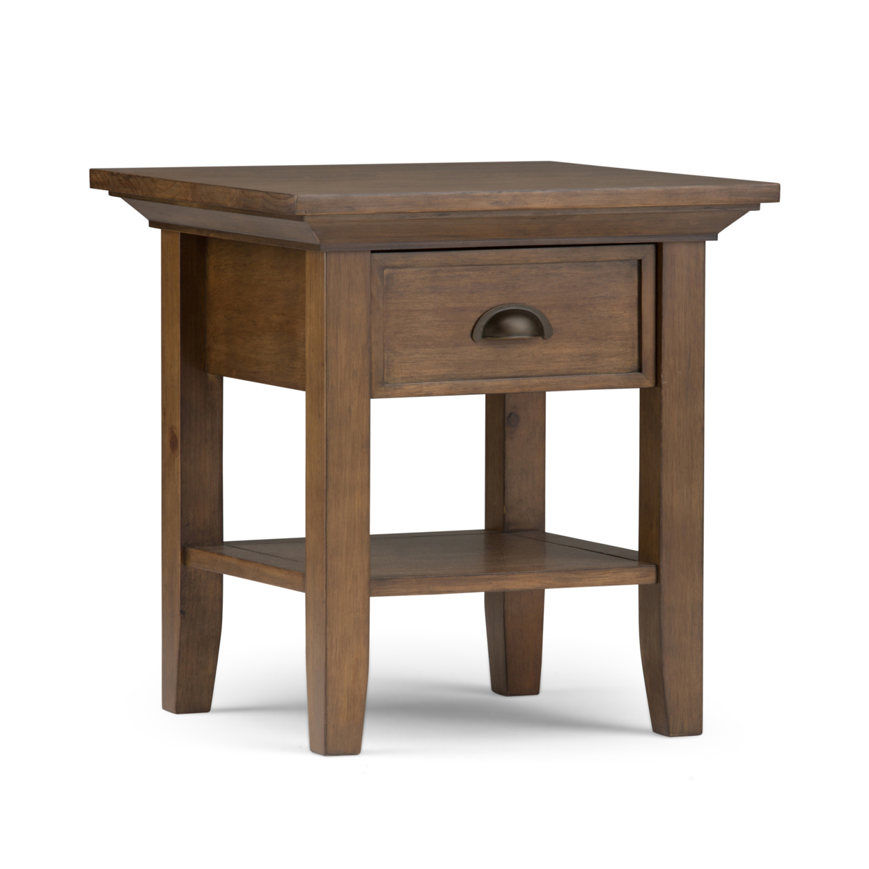 Redmond Solid Wood End Table in Rustic Natural Aged Brown паркетная доска baltic wood дуб rustic light brown 2200x182x14 мм