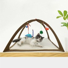 Foldable Cat Bed Play Tent With 4 Hanging Random Balls Mobile Activity Playing Bed Pad Blanket House Pet Furniture House kitty bed toys cats mobile activity playing tent leopard zebra mat