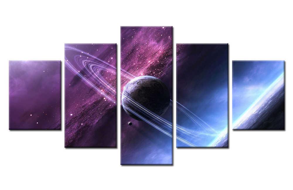 5ชิ้นจิตรกรรมHDพิมพ์S Tar W Ars Saturn'Sแหวนพื้นที่รุ่งอรุณรูปภาพสำหรับโมเดิร์นตกแต่งห้องนอนชีวิตศิลปะประดับห้องผนัง