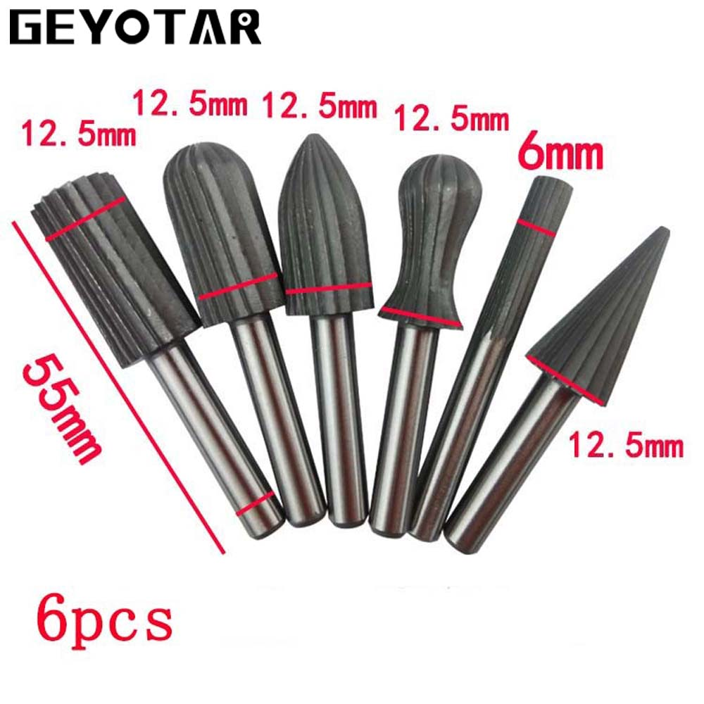 6pcs Woodworking Wood Drill Bit Set High-speed Milling Cutter Carving Tools Dremel HSS Woodcarving Tool Micro DIY Rotary Tool jelbo cone step drill hole tools countersink 3pc drill bit set power tools step drill bit for metal power tools set hole cutter