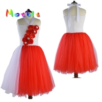 Red Mix White Flower Princess Girl Tutu Dress Party Wedding Birthday Girls Dresses Candy Princess Tutu