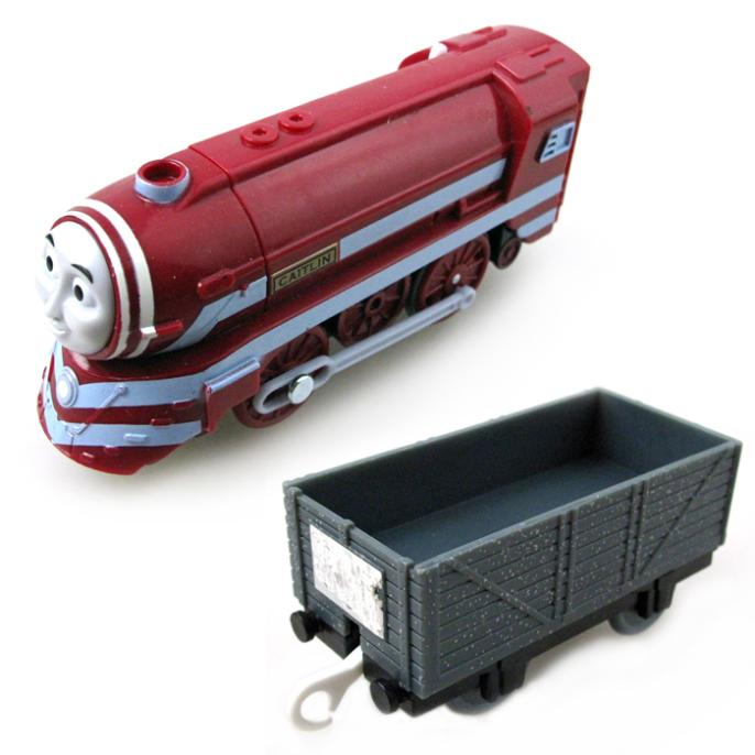 T0247 Electric Thomas and friend Caitlin with a carriage random Trackmaster engine Motorized train Chinldren child kids toys