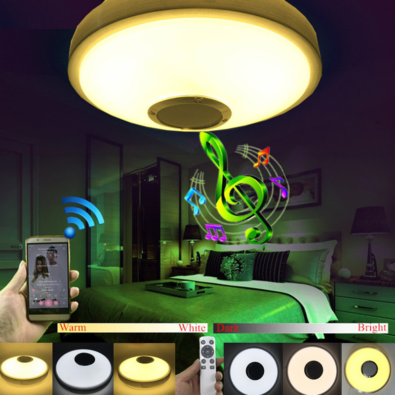 New Modern Wireless Bluetooth Speaker Music Playing and 2.4G RF Remote Control Dimmable LED Ceiling Lamp Romantic music lamp