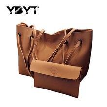 YBYT brand 2017 new casual female tote composite handbag ladies pack hotsale simple large capacity fresh women shoulder bag