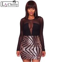La Chilly Bodycon Woman Dress 2018 Vestidos Cortos Black Sheer Mesh Long Sleeve Champagne Rockabilly Club