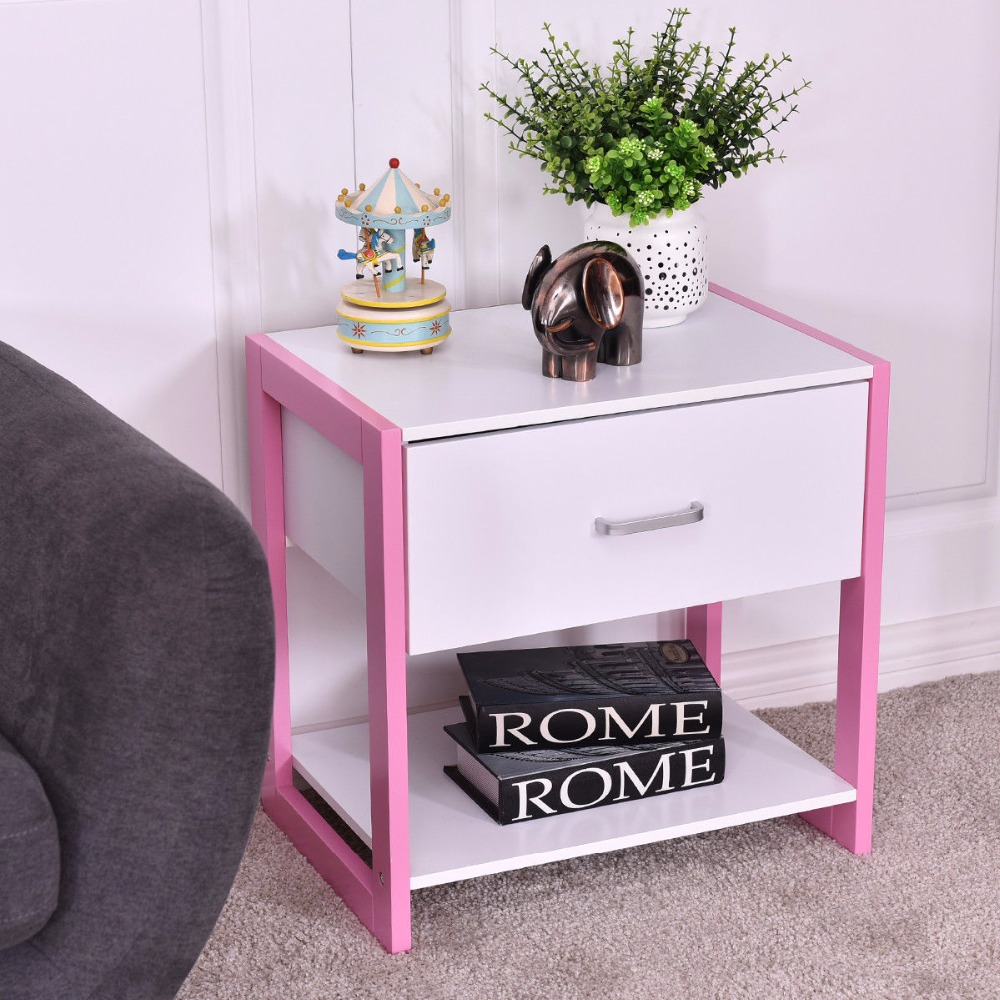 Goplus Nightstand Modern Square End Table Cabinet Bedside Home Furniture Drawer Open She ...